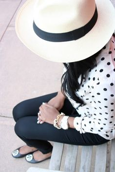 Black & white. Polka dot blouse.