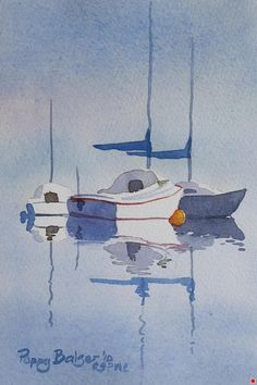 "Sailboat Sketch I by Poppy Balser Watercolor ~ 7"" x 5"""