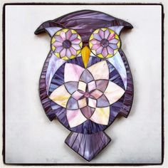 """Professor Plum, stained glass mosaic, 16.5""""x10""""X5/8"""" silhoutte on light weight mdf, 2014 by Kasia Polkowska ~available for sale via Indie-Go-Go ~visit www.kasiamosaics.com to take one of Kasia's Owl Workshops"""