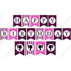 Free Printable Birthday Banners | BARBIE INSPIRED PRINTABLE HAPPY BIRTHDAY BANNER