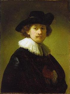 Self-portrait with hat - Rembrandt  - Completion Date: c.1632