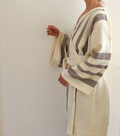 Robe Kimono Peshtemal Bathrobe Bath Robe Turkish Bath Towel Eco Friendly Extra Soft Cotton Organic Obi Belt Brown  Striped by ecofriendlybeauty on Etsy https://www.etsy.com/listing/188369294/robe-kimono-peshtemal-bathrobe-bath-robe