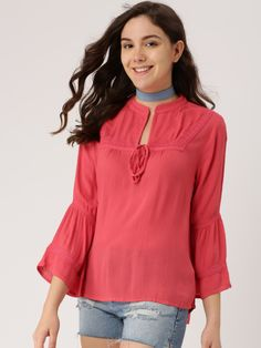 2730992cd3a5d6 Buy DressBerry Women Pink Solid Top - Tops for Women | Myntra