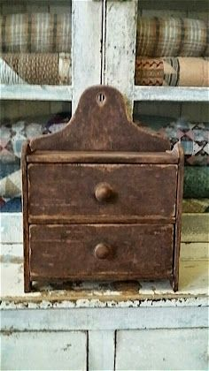 """Reproduction Brown Wall Box with Drawers 14 3/4"""" H x 11 1/8"""" W x 4 1/2"""" Deep. Available at www.primitivespast.com"""