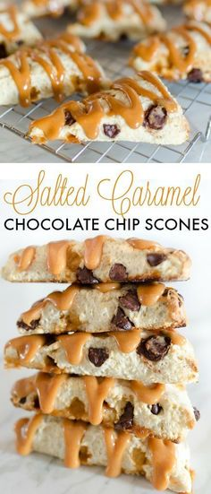 This Salted Caramel Chocolate Chip Scone recipe only takes minutes to make and tastes divine! Dark chocolate chips, caramel chips, and caramel drizzle make these scones a great dessert or breakfast in Salted Caramel Chocolate, Chocolate Caramels, Salted Caramels, Salted Caramel Biscotti Recipe, Chocolate Torte, Chocolate Muffins, Great Desserts, Dessert Recipes, Scone Recipes