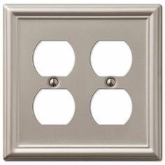 amerelle chelsea 149ddbn 2 duplex wall plate brushed nickel