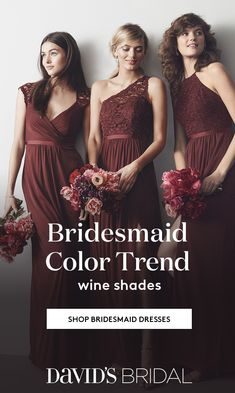 486ed2f2 Gorgeous from rosé to merlot. Create your palette of wine-colored bridesmaid  dresses at