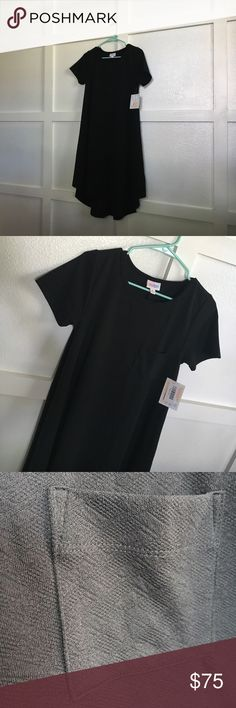 LuLaRoe XS True Black Carly Brand New with Tags!  Hard to find/Unicorn TRUE BLACK size XS LuLaRoe Carly.  True black with slight patterning on material(see pocket photo for detailing).  The material is 95% polyester 5% Spandex.  Great basic piece to add to your closet! LuLaRoe Dresses Midi