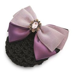 Elegant Oversized Bow Barrette with Net Snood hair bun cover