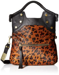 Foley + Corinna FC Lady Tote Cross Body Bag, Leopard Hair Calf, One Size. Haircalf bag featuring exaggerated zipper pulls and gold-tone studs.