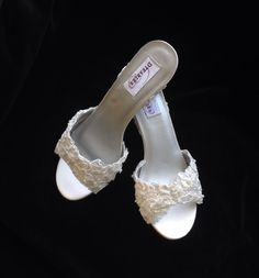 Alencon Lace with Pearls Wedge Wedding Shoes  by YvesBellaBrides, $115.00