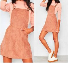 'Alita' suede pinafore dress! MissyEmpire Pink outfit