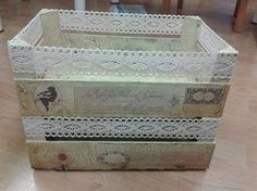 Sweet home : Puuviljakastide uus elu Decoupage Box, Decoupage Vintage, Shabby Vintage, Vintage Box, Crate Crafts, Recycled Crafts, Diy And Crafts, Pallet Crates, Wooden Crates