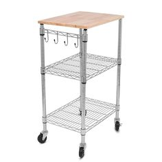 Internet's Best 3-tier Adjustable Kitchen Cart with Removable Cutting Board and 6 Hanging Hooks