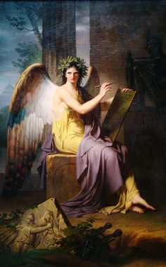 """Clio, Muse of History Charles Meynier (French, Oil on canvas. The Cleveland Museum of Art. Clio - the """"Proclaimer"""" is the muse of History and Oral Tradition. She has been credited with introducing the Phoenician alphabet into Greece. Clio Musa, Cleveland Museum Of Art, Cleveland Ohio, Angels Among Us, Classical Art, Greek Gods, Gods And Goddesses, Greek Mythology, Fantasy Art"""