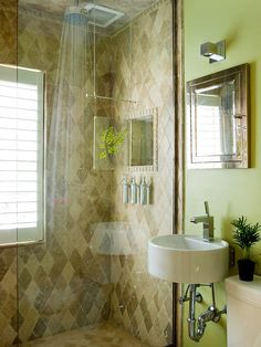 Earthy Green Powder Room