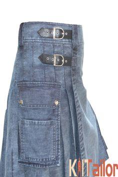 Blue Washed Denim utility Kilt Custom Made
