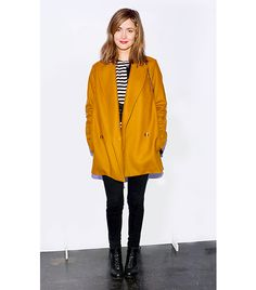 @Alex Leichtman M What Wear - Rose Byrne                 The always-stylish Aussie made an appearance at the Labyrinth Theater Company's benefit gala in New York City last month in this fall-appropriate ensemble. We love the contrast between her striped shirt and that bold, mustard coat!