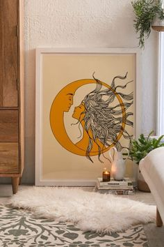 -Urban Outfitters Hammered Metal Moon Cycle Banner Nadja Sun And Moon Art Print See it Interior Design Living Room, Living Room Designs, Living Room Decor, Painting & Drawing, Cute Dorm Rooms, Moon Art, Diy Wall Art, New Wall, Decoration
