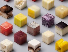 Raw Food Cut Precisely into 98 Bite-Size Cubes To Turn You into a Hungry Perfectionist Raw Food Recipes, Great Recipes, Raw Tuna, Unprocessed Food, Kiwi, Perfect Food, Food Design, Design Art, Design Ideas