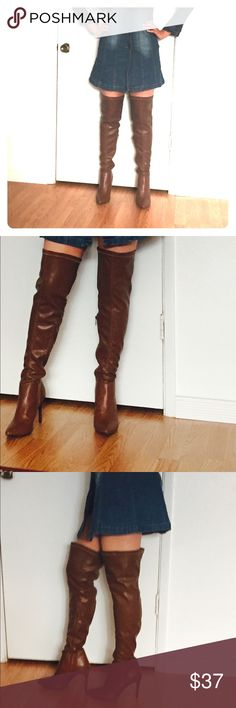 Thigh high faux leather dark tan stiletto boots Shaft height 27 inches, Ankle circumference 11 inches, heel height 4 inches. Semi stretch with a hidden inside mid way zipper. Shoes Over the Knee Boots