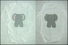 "Gecko Fabric Art - ""heads and tails"" applique elephant babygrow"