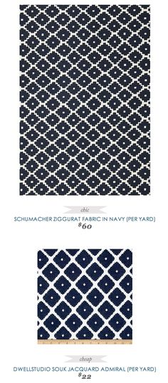 #Copycatchicfind #SchumacherFabric Ziggurat #Fabric in #Navy $60 yard - vs - #DwellStudio Souk #Jacquard in Admiral $22 yard