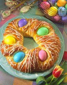 Easter Egg Bread. I grew up with my mom making this, so I followed this recipe last year, minus the orange peel and almonds. It was really yummy!