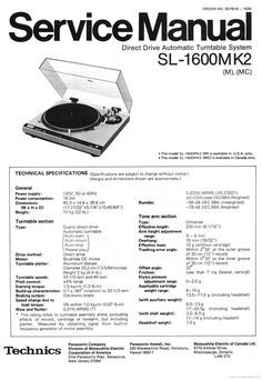 Technics SL-1600 mk2 Turntable , Service Manual & Supplement  * PDF format suitable for all Windows DOWNLOAD