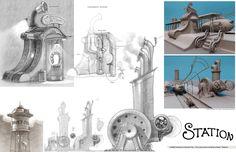 Living Lines Library: Robots - Visual Development Environment Props Blue Sky Studios, Black And White Sketches, Robot Concept Art, Visual Development, Mexican Art, Dieselpunk, Great Artists, Illustrators, Environment