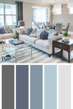 Best Living Room Color Schemes Idea [To Date] Summer colors and decor inspired by coastal living. Create a beachy yet sophisticated living space by mixing dusty blues, whites and grays into your color palette. Living Room Color Schemes, Living Room Colors, Living Room Paint, Home Living Room, Living Room Designs, Grey Living Room Ideas Colour Palettes, Interior Colour Schemes, Gray Color Schemes, Paint Schemes