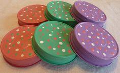 Painted Mason Jar Lids in Pastel Colors Set of 6