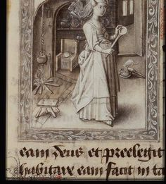 Nice to find a saint with a spoon instead of the monotonous martyr's palm (Martha). I also like the little cat sniffing at a pot on the kitchen floor. Medieval Life, Medieval Art, Medieval Manuscript, Illuminated Manuscript, 15th Century Clothing, Saint Martha, Isabella Of Castile, Medieval Furniture, High Middle Ages