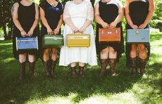 I LOVE the  idea of suitcases instead of bouquets for a travel-themed wedding!