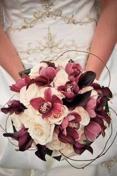 buque flor de cerejeira marsala branco rosas orquídea cymbidium - Pesquisa Google