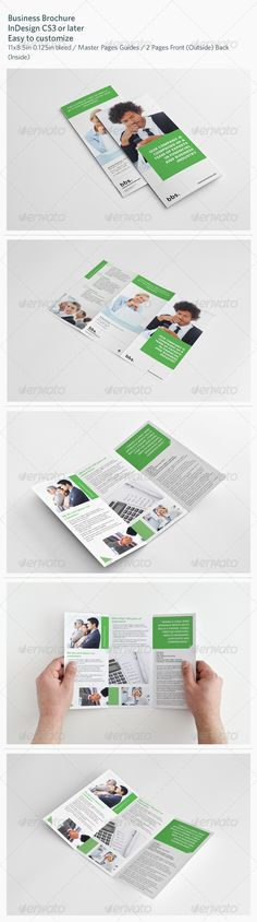 Business Brochure #GraphicRiver Business Brochure Details 2 Pages Front (Outside) Back (Inside) 300 DPI, CMYK – Print ready Master Pages Guides 0.125in Bleed Easy to customize Included Files InDesign CS3 (.inx) InDesign CS4 or later (.indd) InDesign CS6 (.indd) PDF preview file Help file Dimension Letter – 11×8.5in 0.125in bleed Fonts used Only free fonts used. Download links included in package. Photos The photos used in the preview are not included. Created: 16April13…
