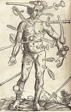 anatomical map illustration from hans von gersdorff's book '  feldtbůch der wundartzney: newlich getruckt und gebessert', 1529