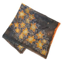HANDPAINTED stars SILK SCARF, Pure Square women silk scarve, Painted black silk shawl with orange flowers, Unique birthday gift for wife Painted Silk, Hand Painted, Silk Painting, Alexander Mcqueen Scarf, Stars, Trending Outfits, Unique Jewelry, Handmade Gifts, Etsy