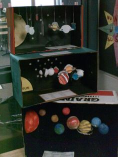 Solar System diorama- I'm thinking Space Projects, Space Crafts, Science Projects, School Projects, Solar System Projects For Kids, Space Solar System, Solar System Model, Science Fair, Science For Kids