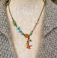 Kath.bohemian style,red bird,turquoise necklace. Tiedupmemories