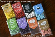DIY::Super Hero::Super Power Drops::  invincibility drops, flash speed drops, energy blast drops, super strength drops, x-ray vision drops, super hearing drops, elasticity drops, telepathic power drops