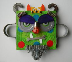 """RESERVED LISTING for Nancy  -   Recycled Art Collage  -  """"Jack, The Grumpy Monster King""""   -  Original Mixed Media"""
