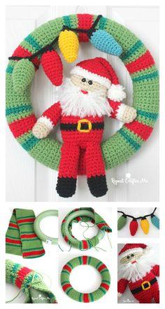 Christmas Wreath Image, Homemade Christmas Wreaths, Crochet Christmas Wreath, Crochet Wreath, Crochet Christmas Decorations, Christmas Crochet Patterns, Holiday Crochet, Christmas Knitting, Christmas Diy