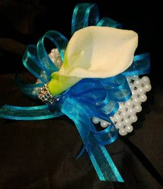 Calla Lily Wrist Corsage but without those pearls he says they are hideous.