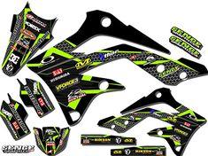 KX Podium Black Base Senge Graphics Kit, Compatible with Kawasaki Custom Wraps, Motocross Bikes, Dark Wallpaper, Dirt Bikes, Kit, Graphics, Base, Stickers, Amazon