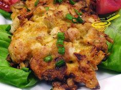 z cukrem pudrem: placuszki z kurczaka z pieczarkami i serem (siekane)