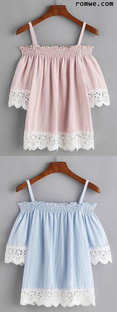 Contrast Lace Trim Cold Shoulder Shirred Blouse