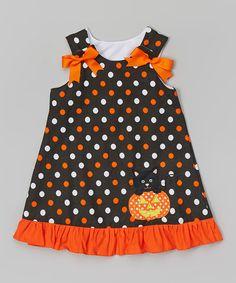 Look what I found on #zulily! Black & Orange Polka Dot Pumpkin Jumper - Toddler & Girls by HH & Me #zulilyfinds