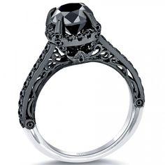 2.13 Carat Certified Black Diamond Engagement Ring 18k Black Gold Vintage Style - Black Diamond Engagement Rings - Engagement - Lioridiamonds.com