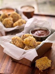 "Steak ""Popcorn"" Bites -- Beefy nuggets cooked in the oven, perfect for little hands to dip as they wish."
